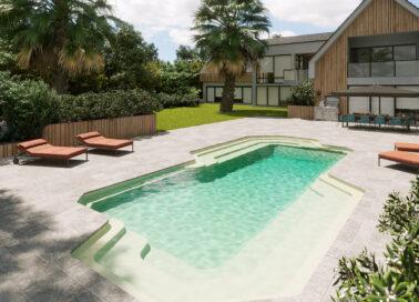 autour d'une piscine